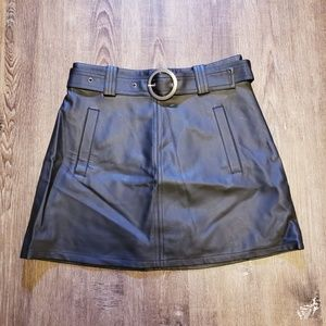 VEGAN LEATHER BLACK A LINE MINI SKIRT WITH BELT 27